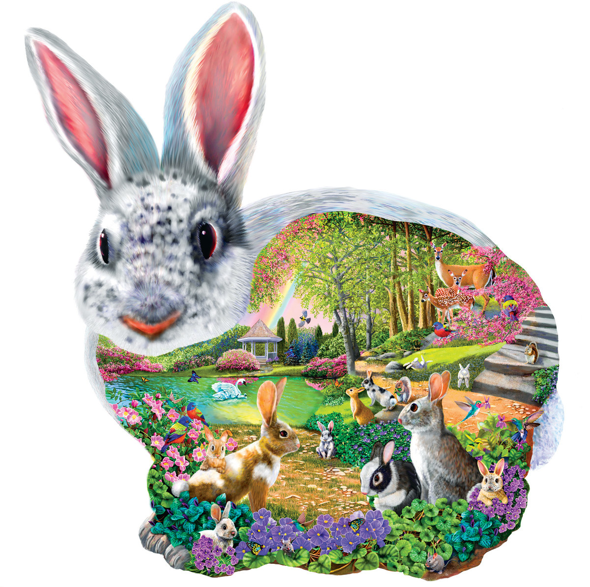 sunsout bunny hallow shaped puzzel
