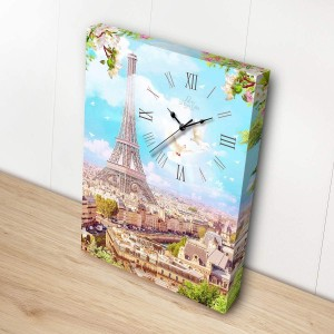 Pintoo: Showpiece Canvas with Clock - Springtime in Paris (366) puzzelklok