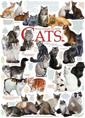 Cobble Hill: Cats Quotes (1000) verticale legpuzzel