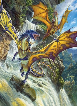 Cobble Hill: Waterfall Dragons - Matthew Stewart (1000) verticale puzzel