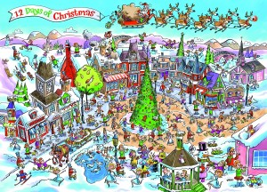 Cobble Hill: Doodletown - 12 Days for Christmas (1000) legpuzzel