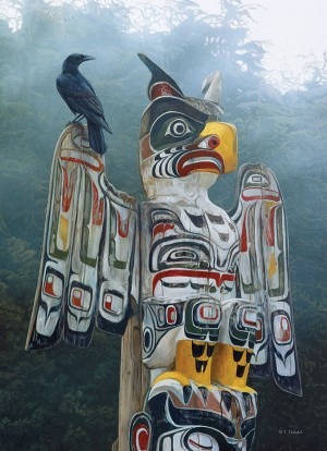Cobble Hill: Totem Pole in the Mist - Terry Isaac (1000) Verticale puzzel