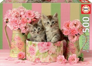 Educa: Kittens with Roses (500) legpuzzel