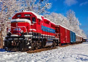 Bluebird: Red Train in the Snow (1500) legpuzzel
