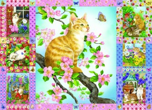 Cobble Hill: Blossoms and Kittens Quilt (1000) legpuzzel