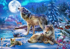 Bluebird: Winter Wolf Family (1500) wolvenpuzzel