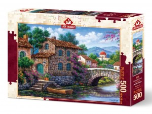 Art Puzzle: Canal with Flowers (500) legpuzzel