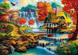 Bluebird: Country House by the Water Fall (1000) legpuzzel
