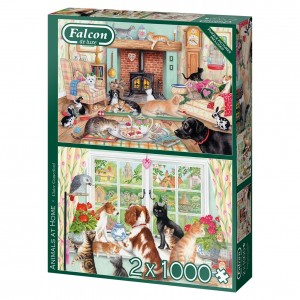 Falcon: Animals at Home - Claire Comerford (2x1000) dierenpuzzels