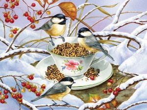 Cobble Hill: Chickadee Tea (275XXL) Easy Handling kerstpuzzel